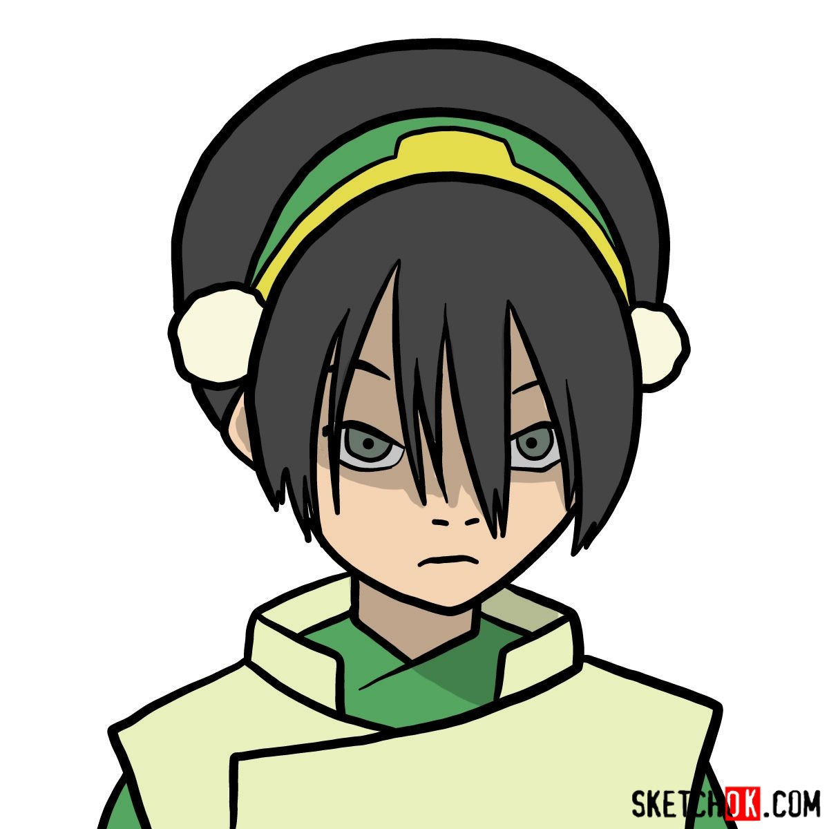 How to draw Toph Beifong's face - coloring