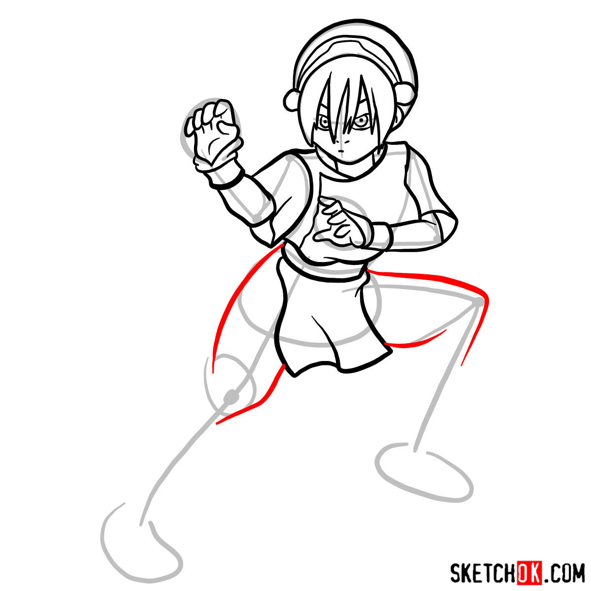 How to draw Toph Beifong - step 12