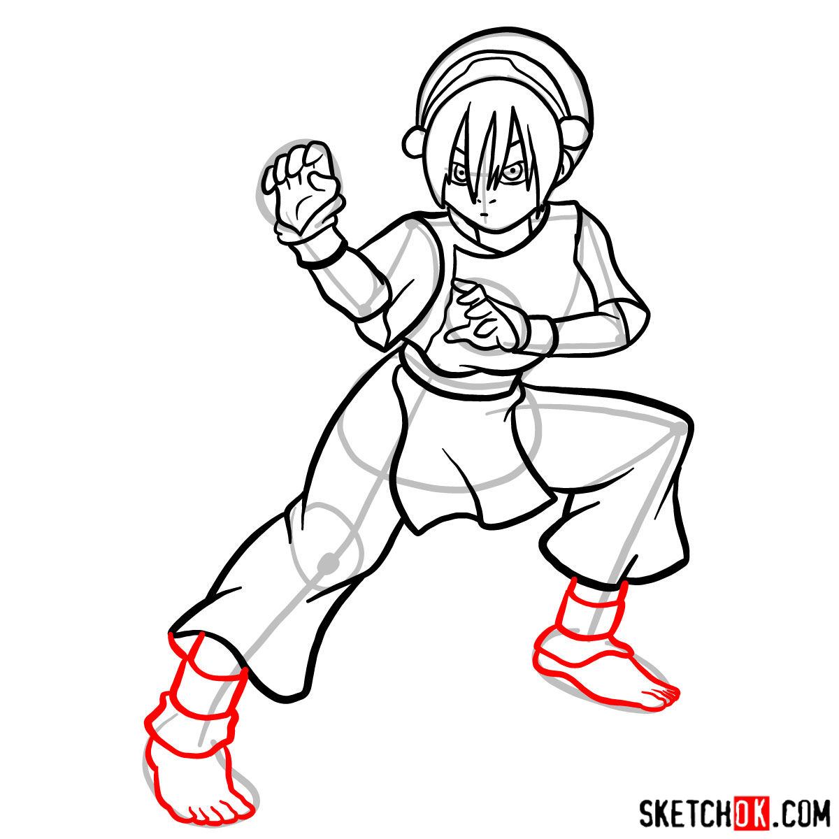 How to draw Toph Beifong - step 14