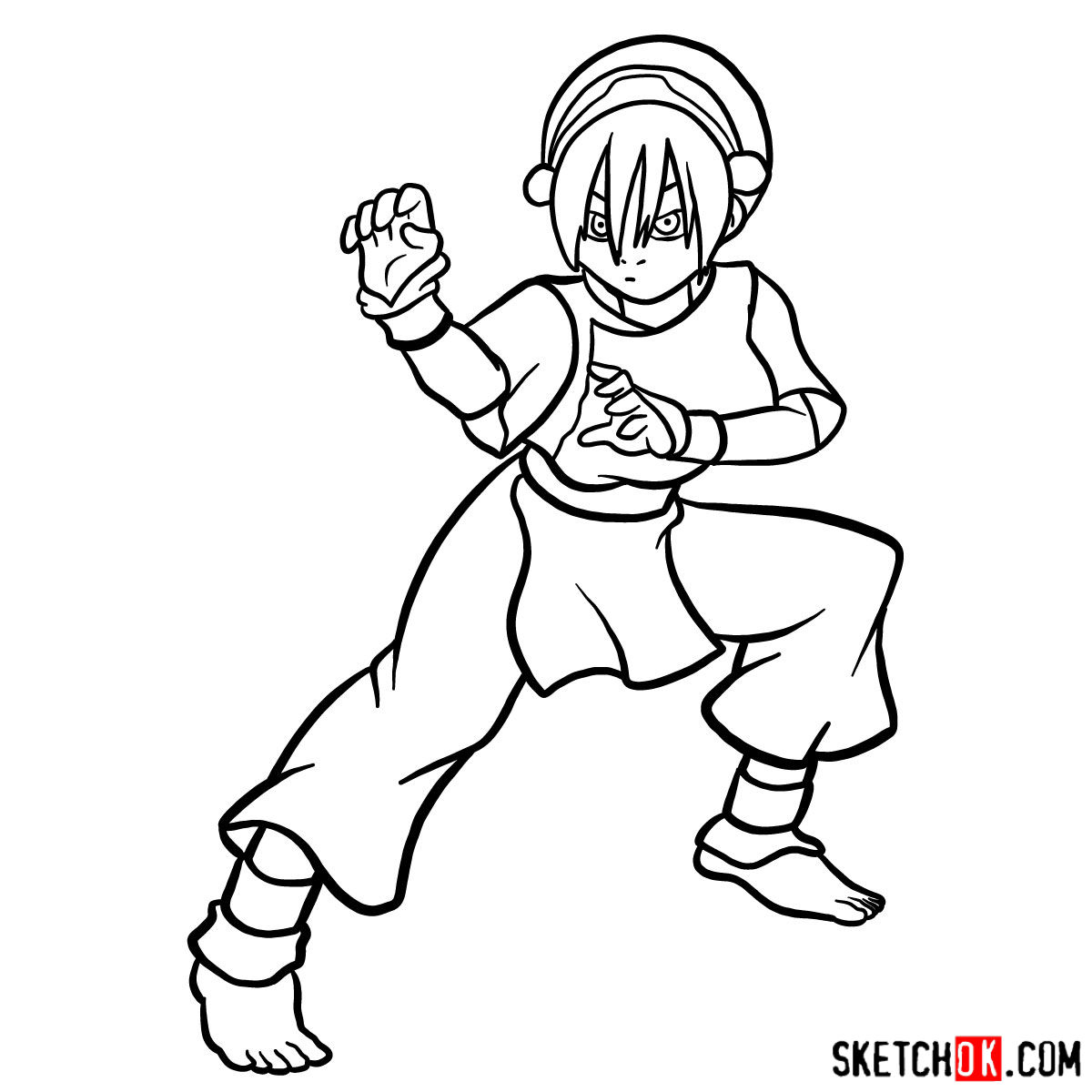 How to draw Toph Beifong - step 15