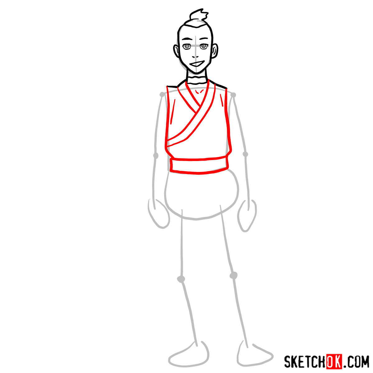 How to draw Sokka - step 05