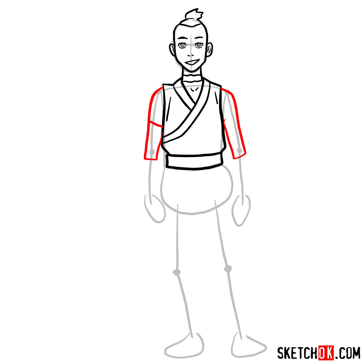 How to draw Sokka - step 06