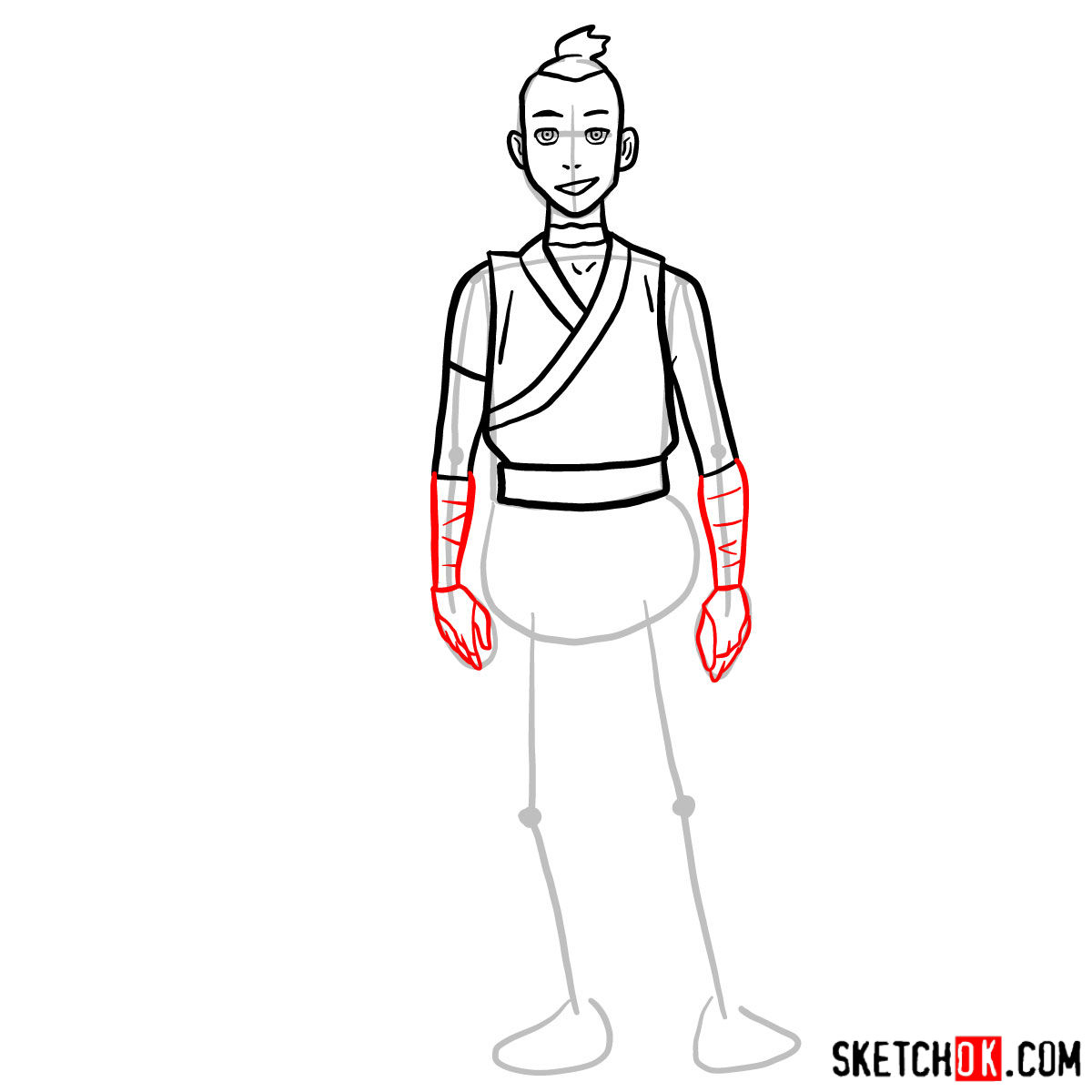 How to draw Sokka - step 07
