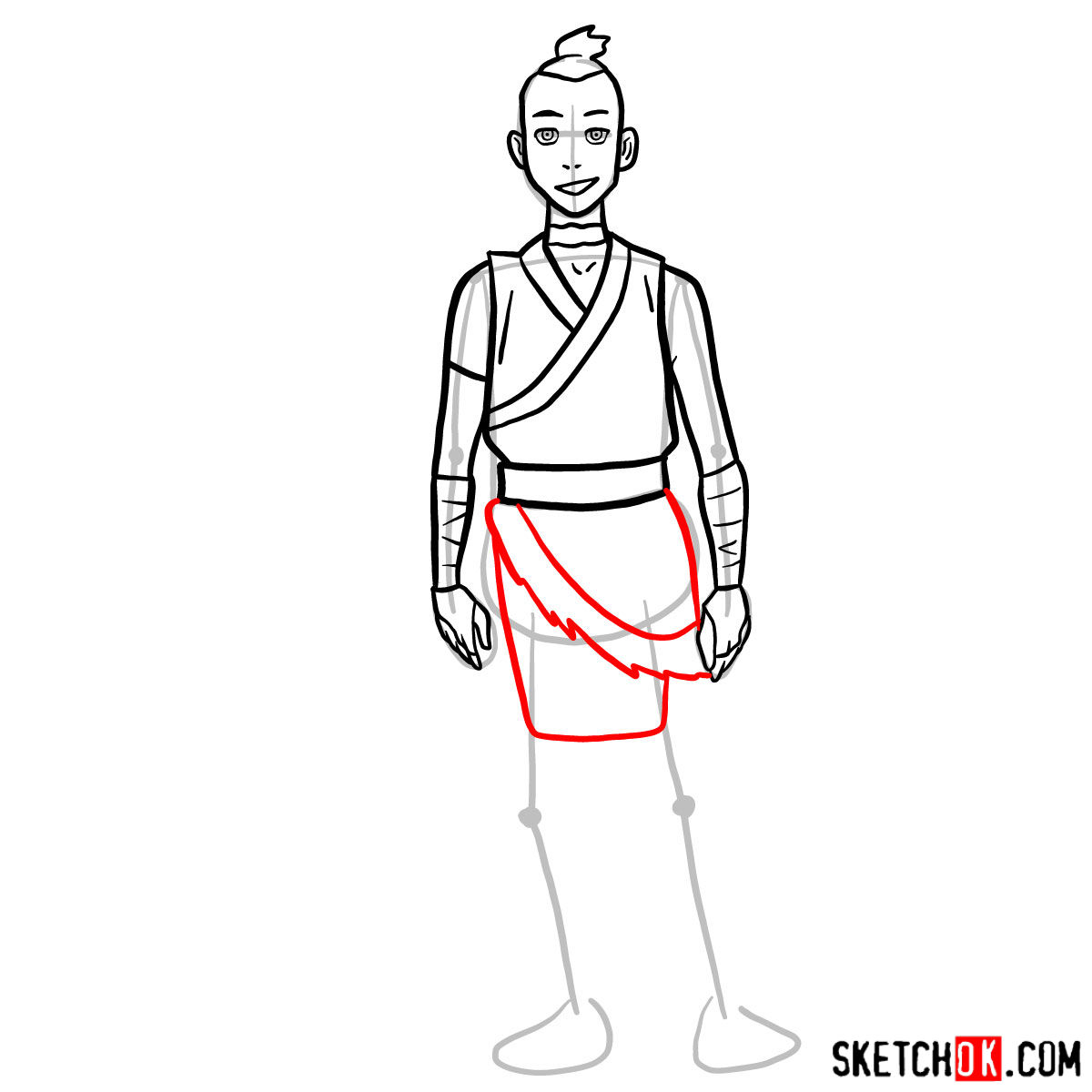 How to draw Sokka - step 08