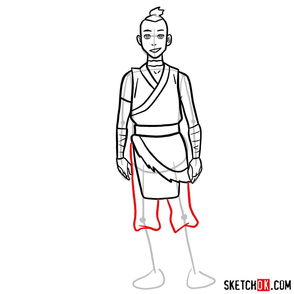 How to draw Sokka - step 09