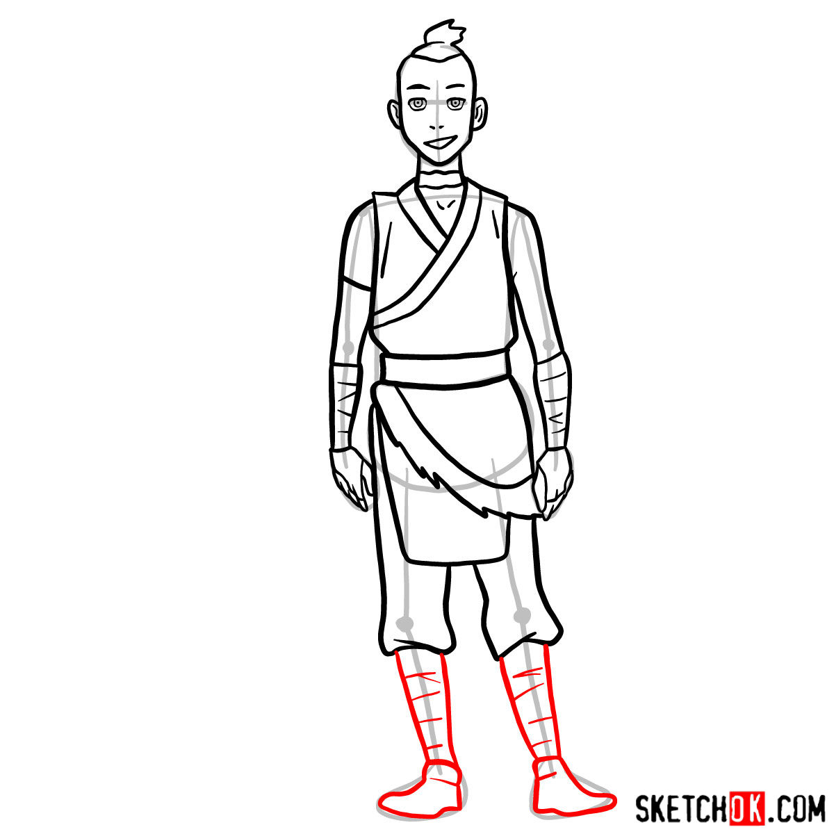 How to draw Sokka - step 10