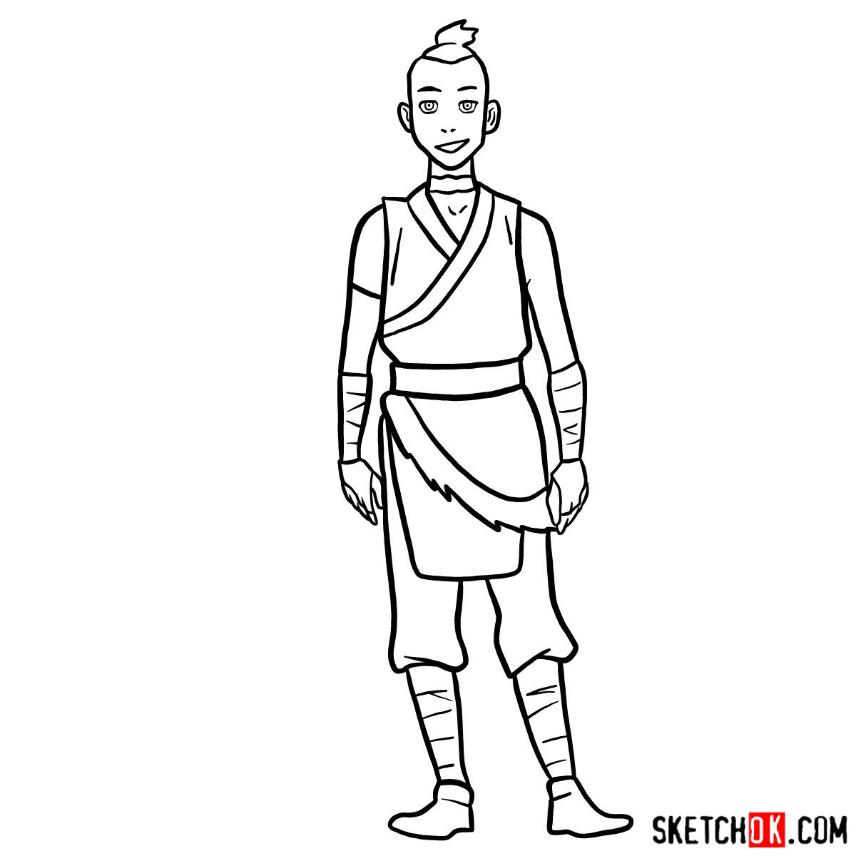 How to draw Sokka - step 11