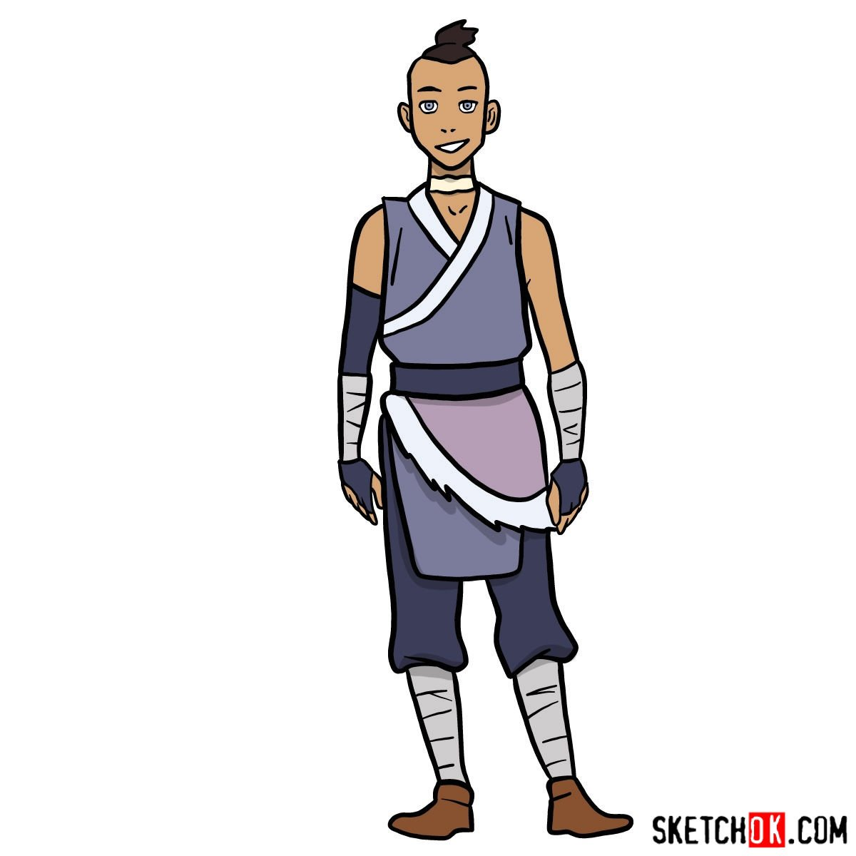 How to draw Sokka