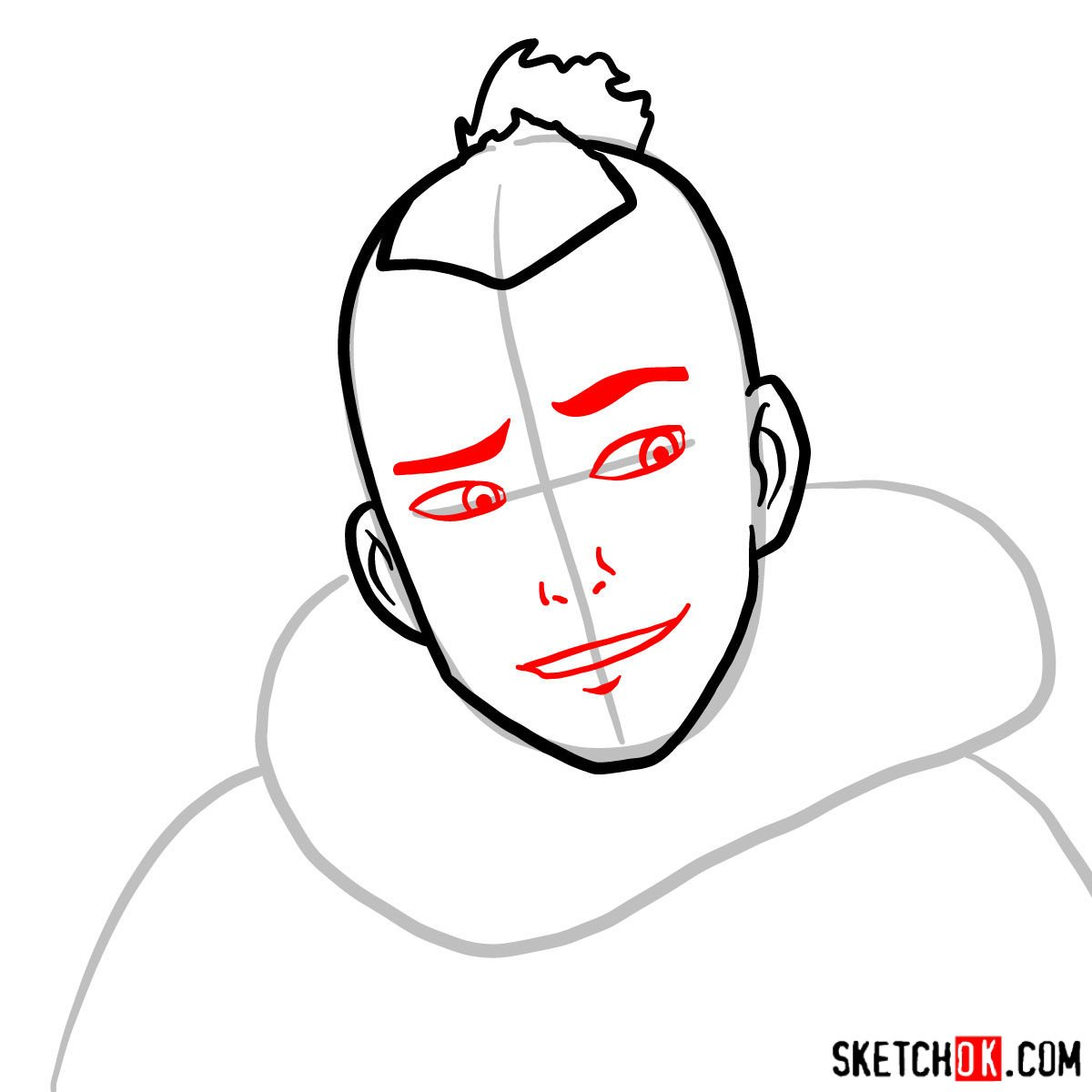 How to draw Sokka's face - step 04
