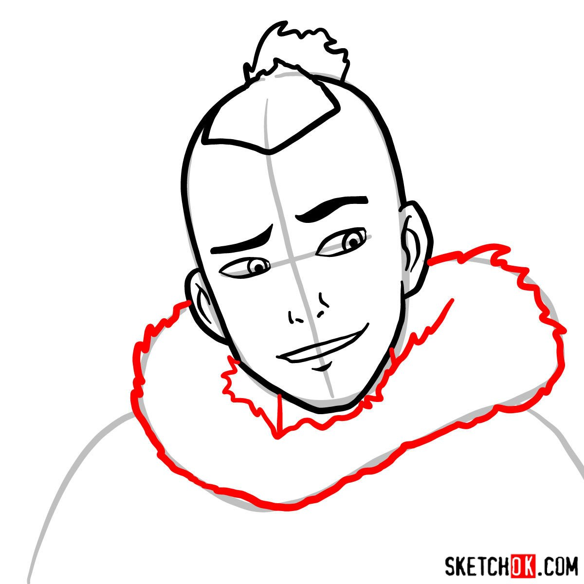 How to draw Sokka's face - step 05