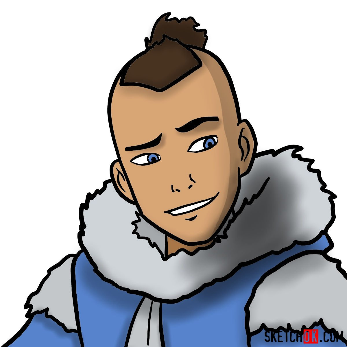 How to draw Sokka's face - coloring