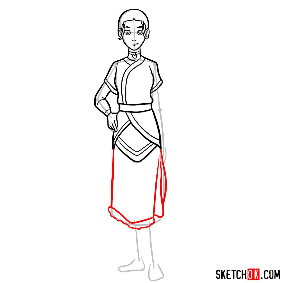 How to draw Katara - step 10