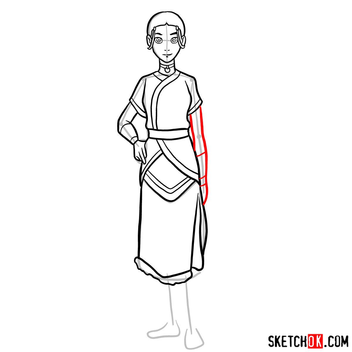 How to draw Katara - step 11