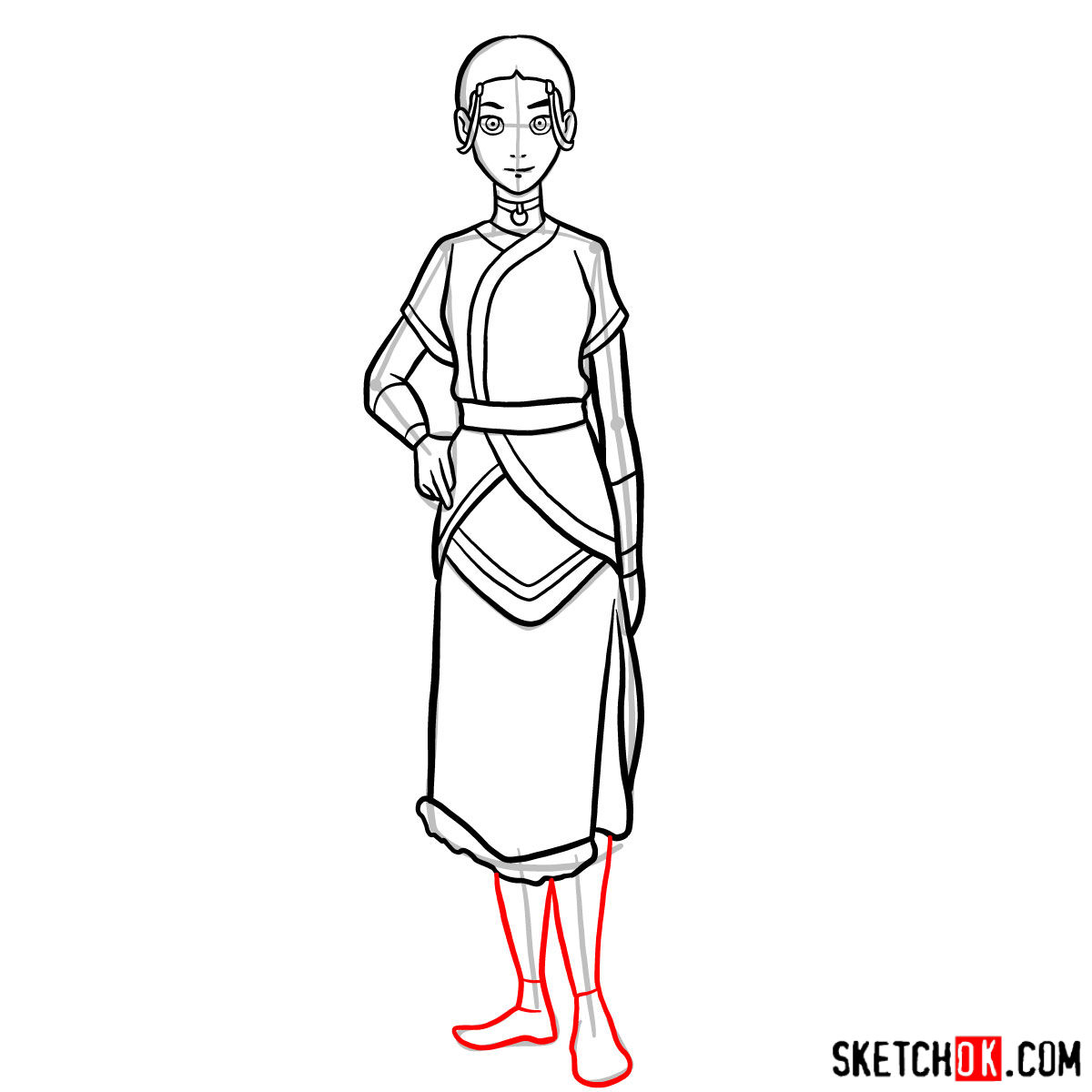 How to draw Katara - step 12