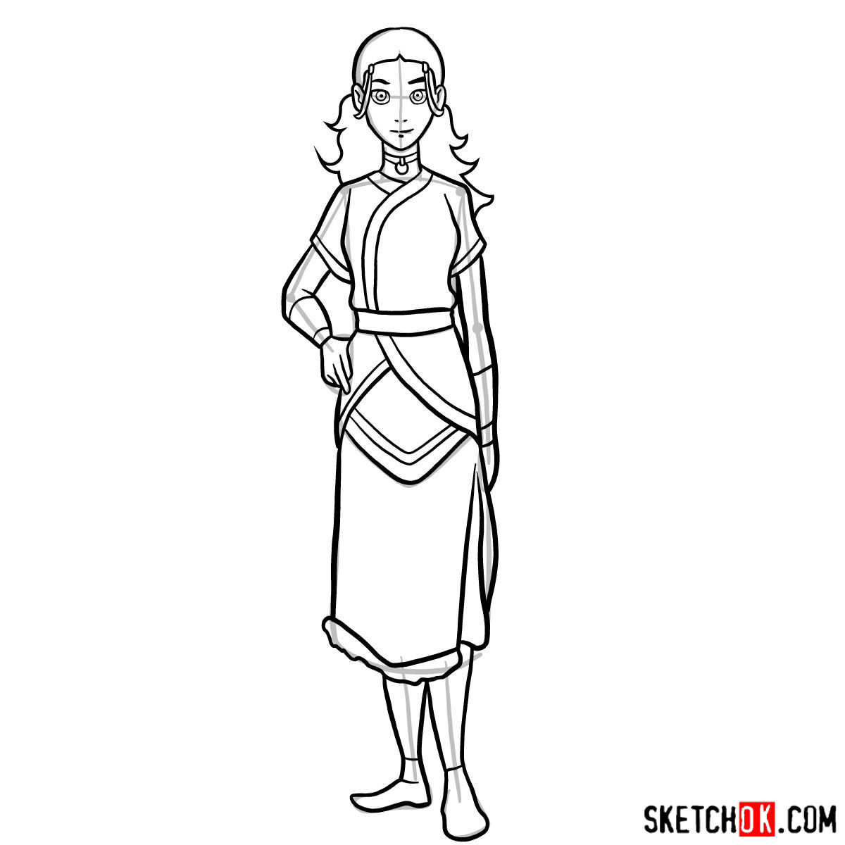 How to draw Katara - step 13