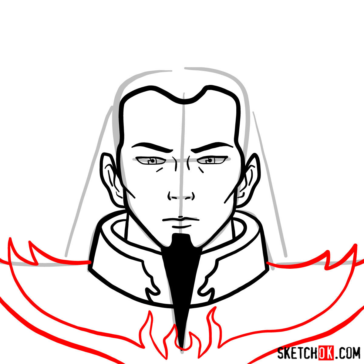 How to draw the portrait of Ozai - step 06