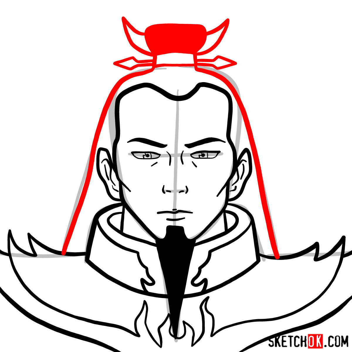 How to draw the portrait of Ozai - step 07