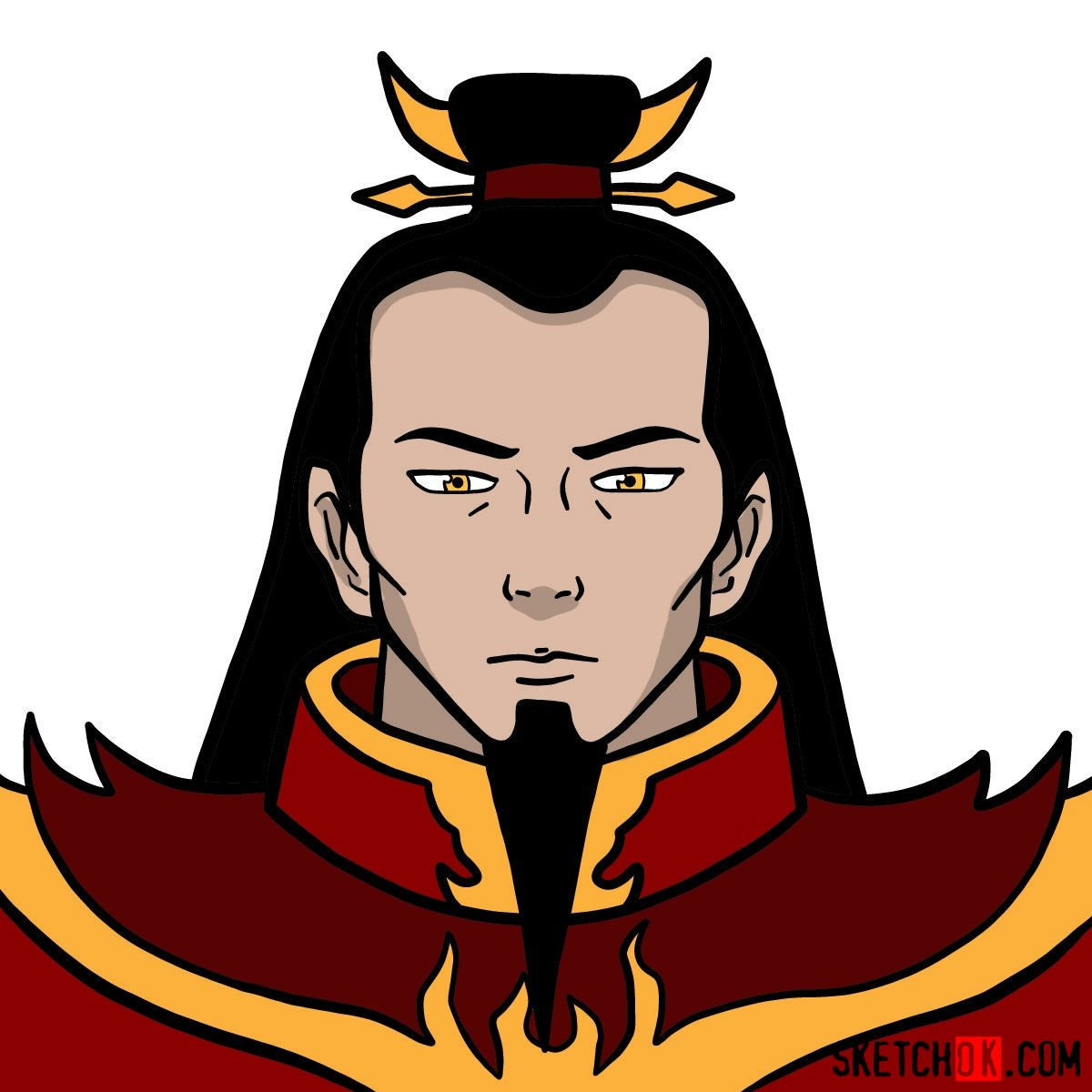 How to draw the portrait of Ozai