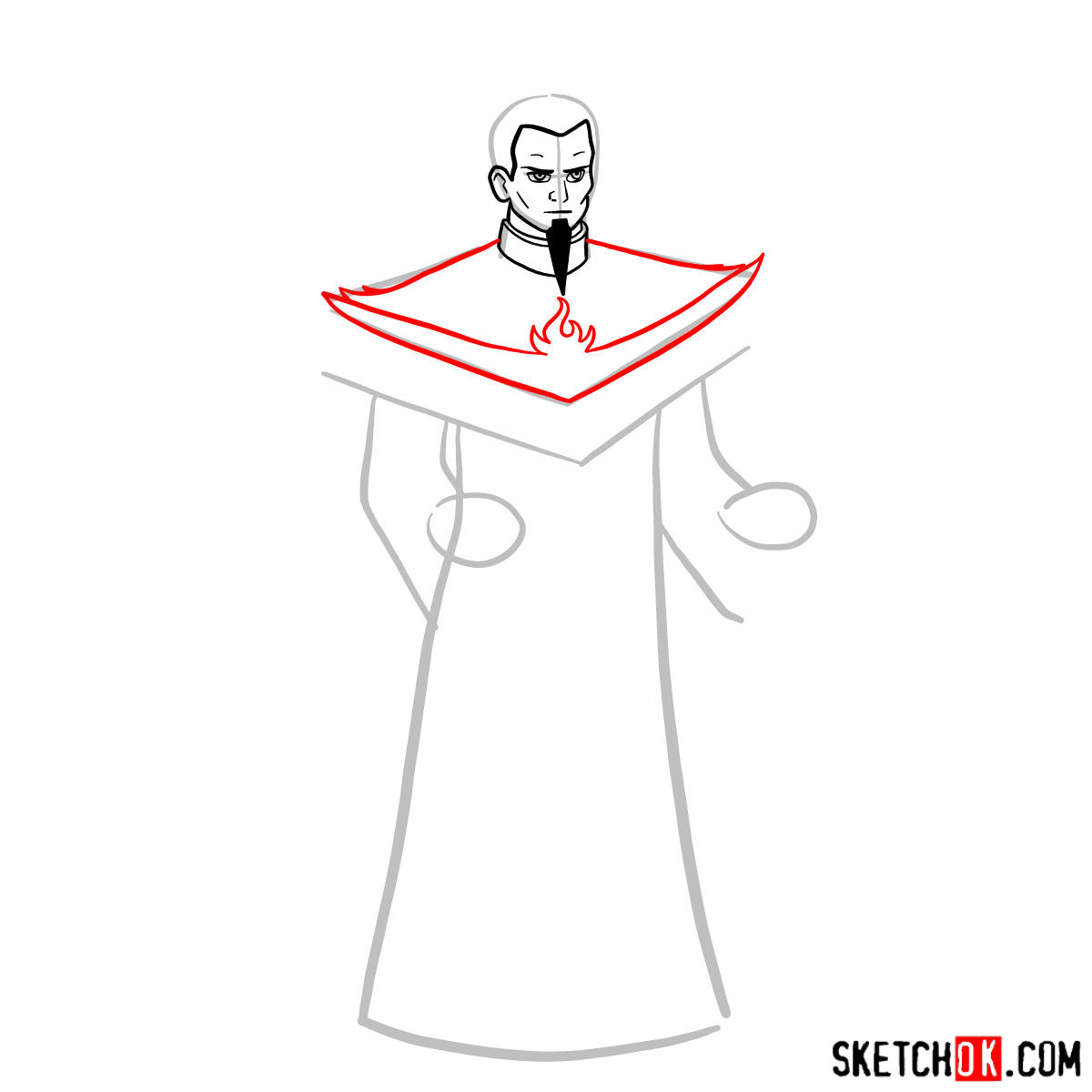 How to draw Ozai - step 05