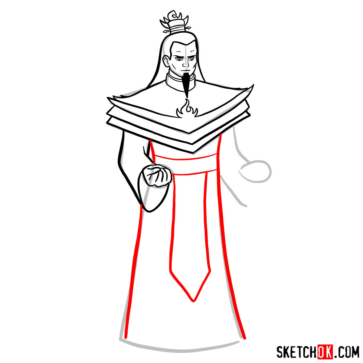 How to draw Ozai - step 09