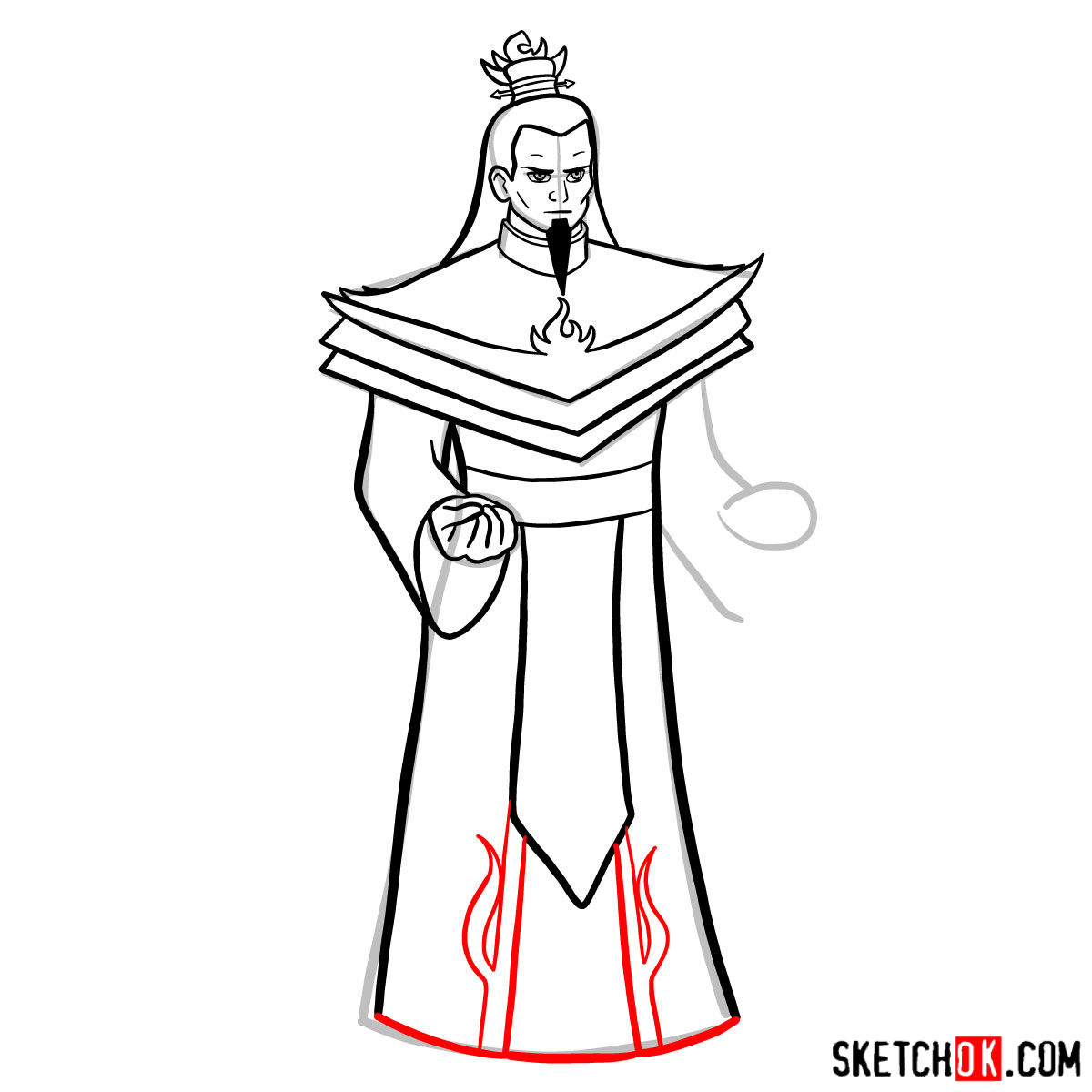 How to draw Ozai - step 10