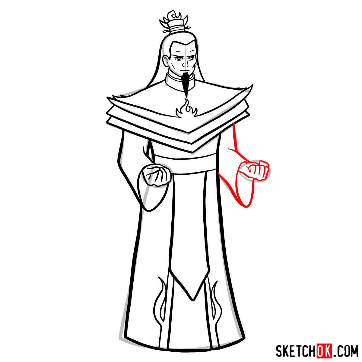 How to draw Ozai - step 11