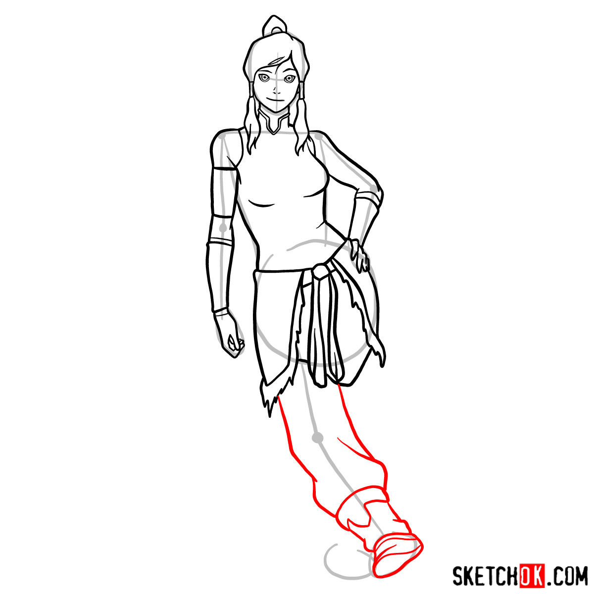 How to draw Korra in full growth - step 12