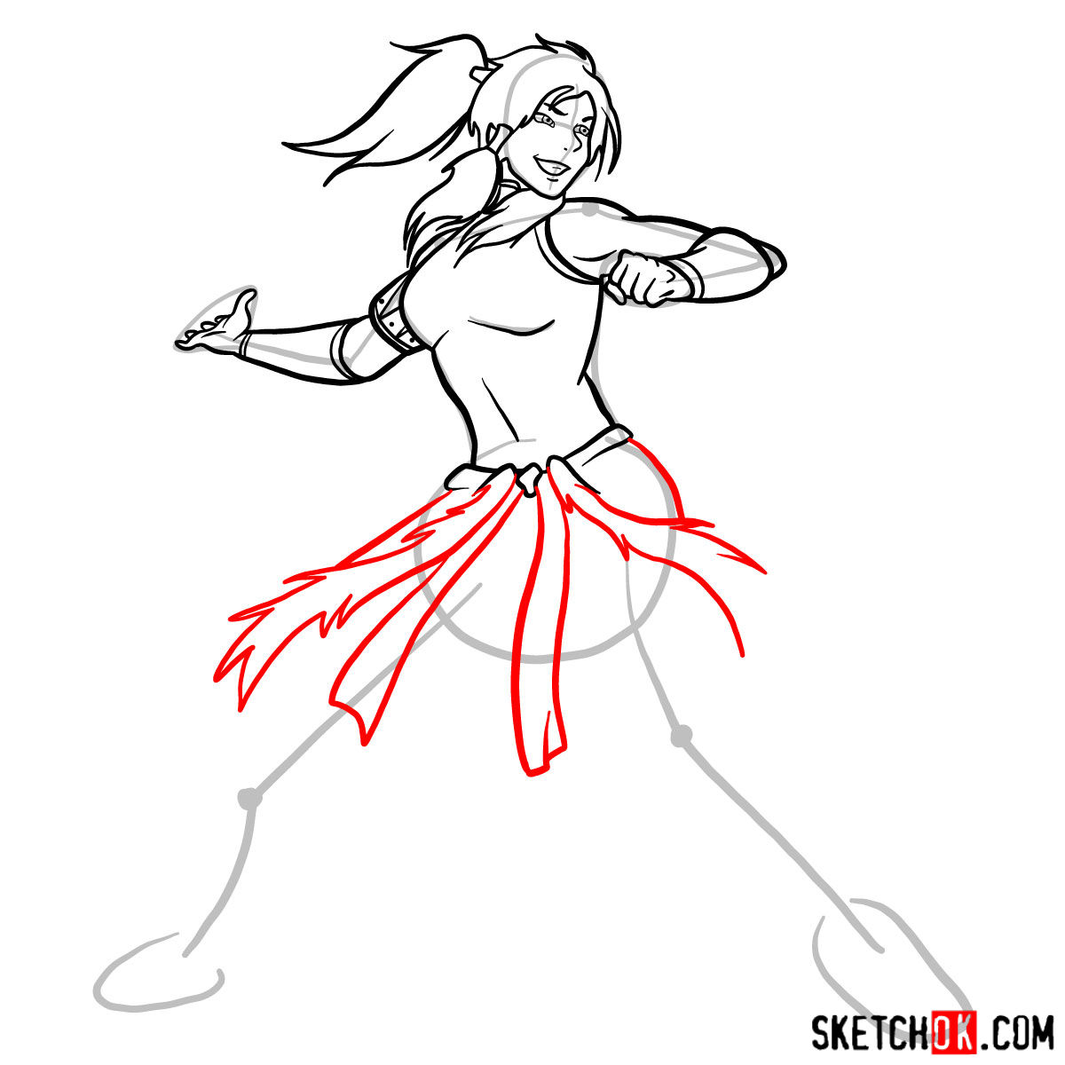 How to draw Korra - step 10