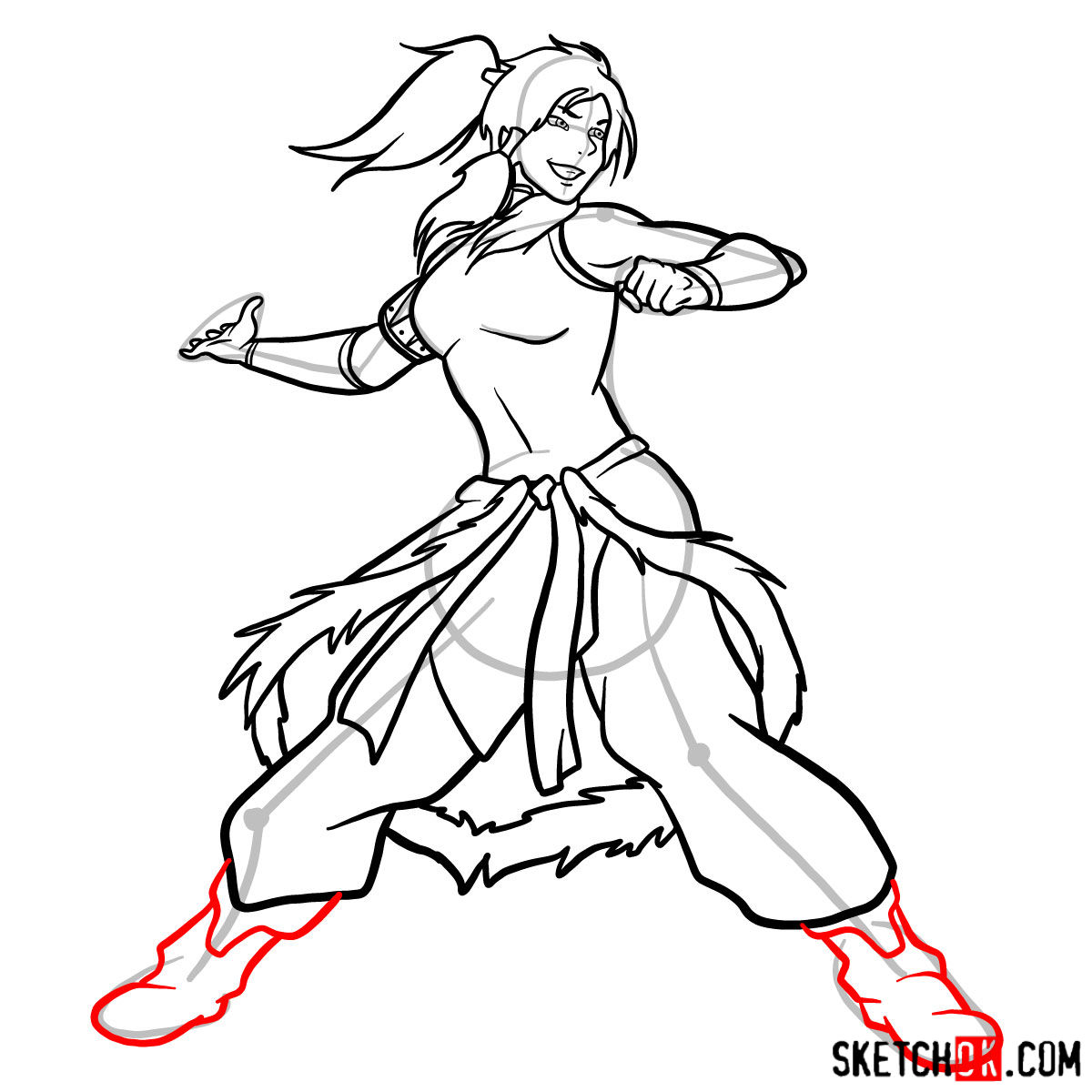 How to draw Korra - step 14