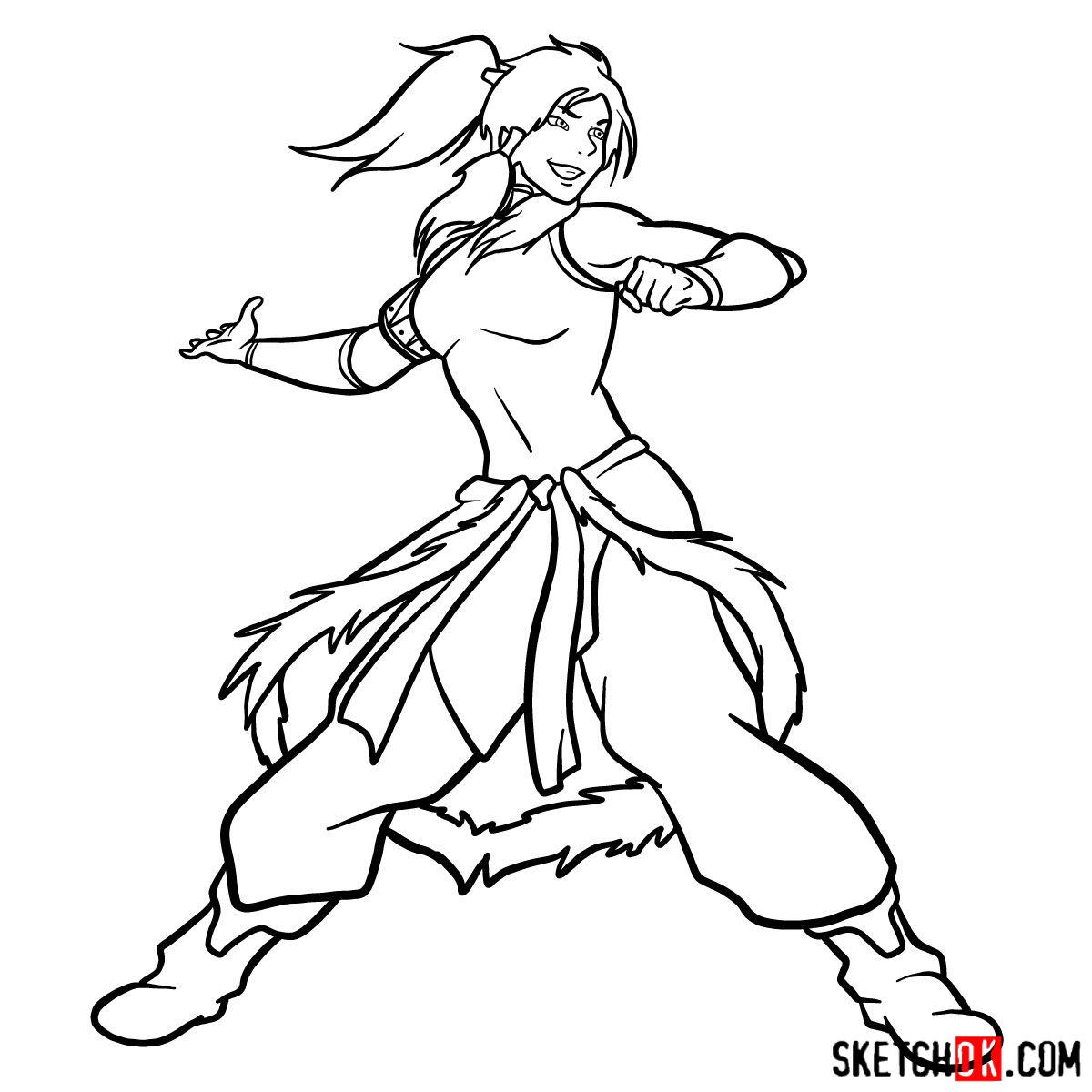 How to draw Korra - step 15