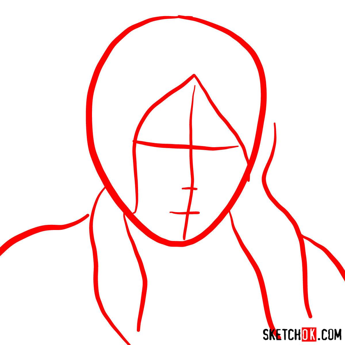 How to draw Korra's portrait - step 01