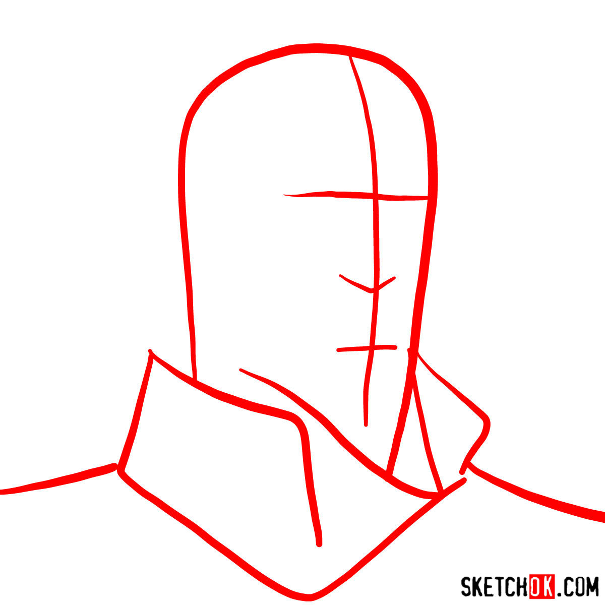 How to draw Tenzin's face - step 01