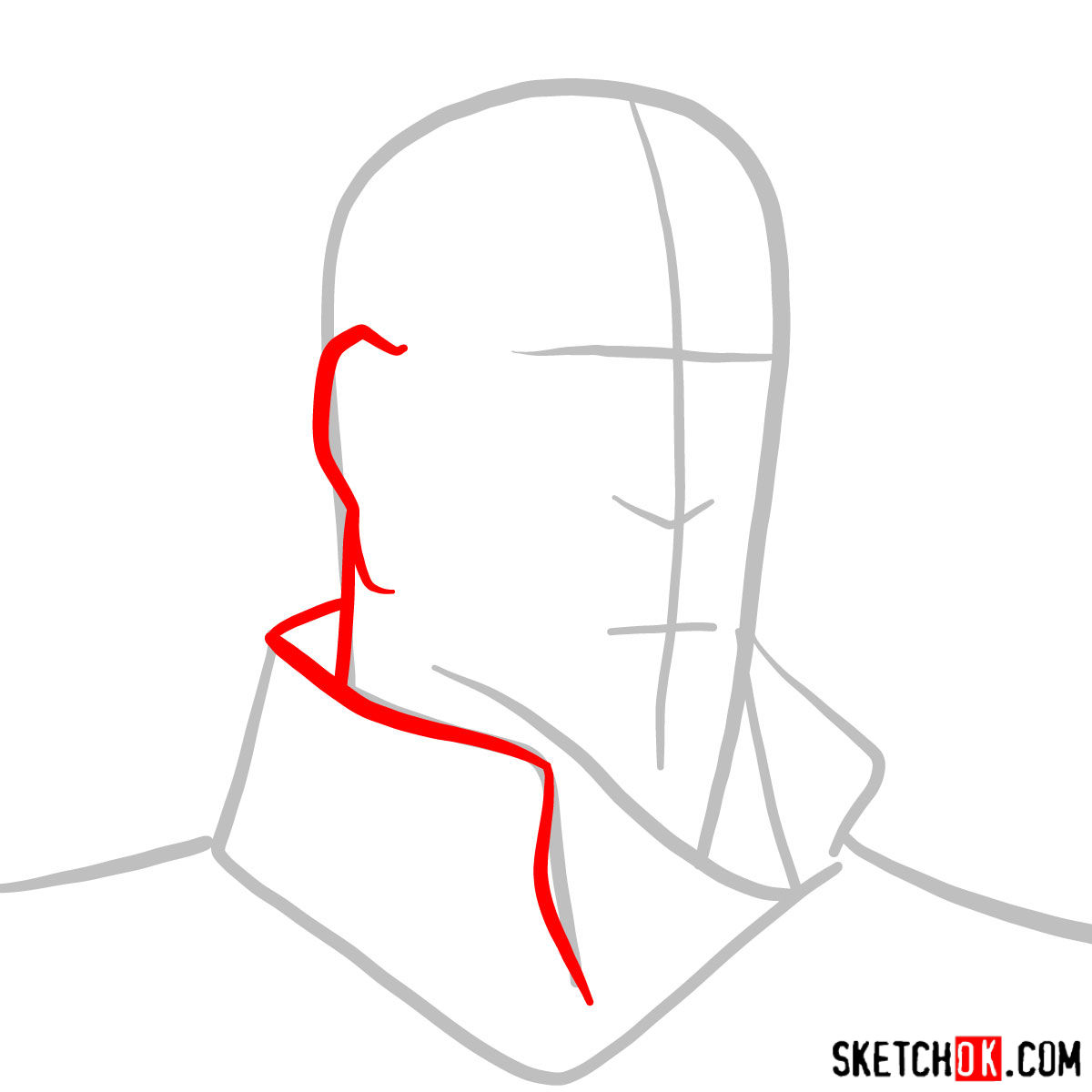 How to draw Tenzin's face - step 02
