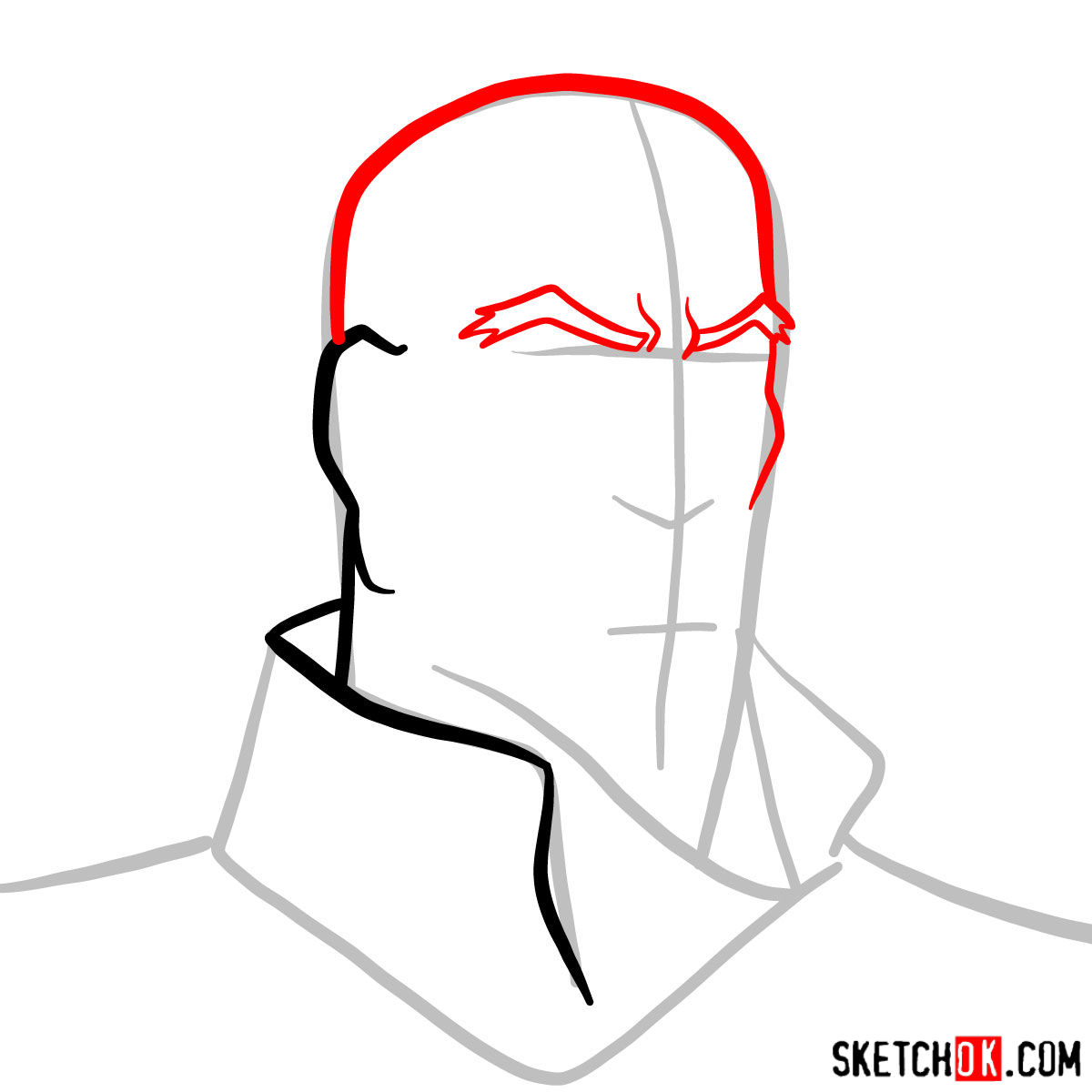 How to draw Tenzin's face - step 03