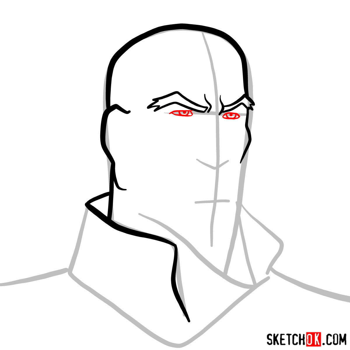 How to draw Tenzin's face - step 04