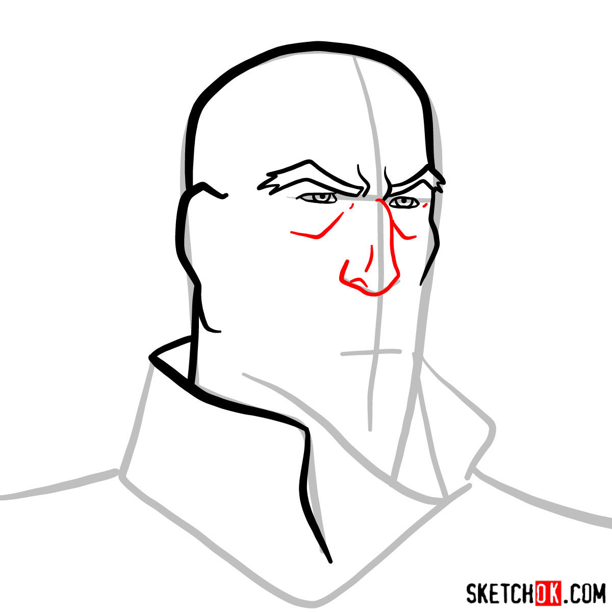 How to draw Tenzin's face - step 05