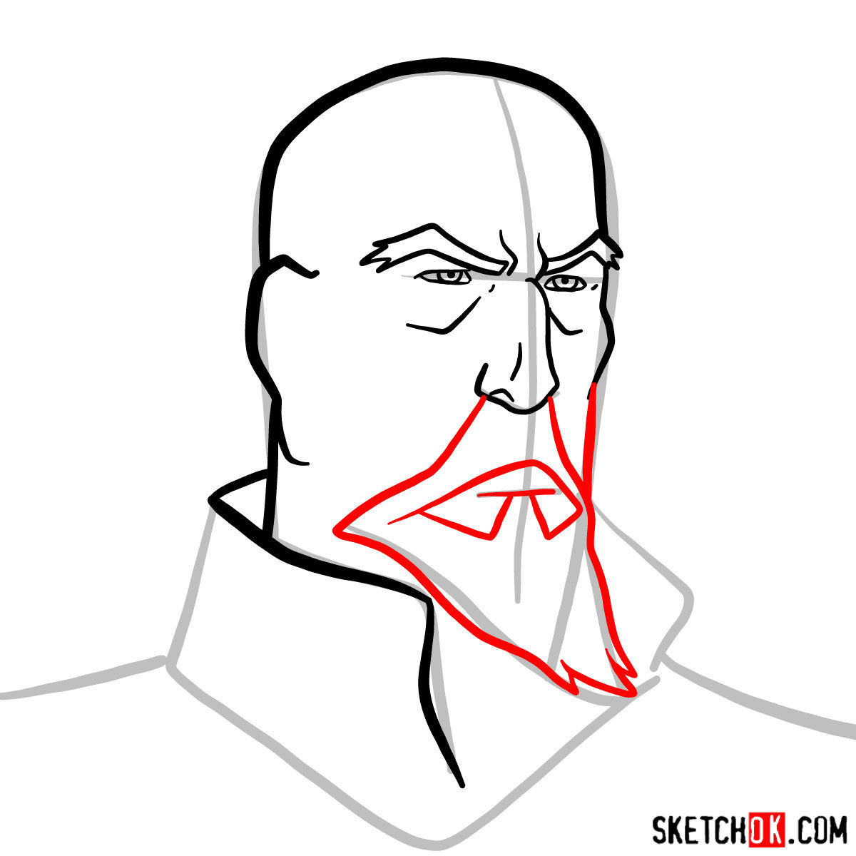 How to draw Tenzin's face -  step 06