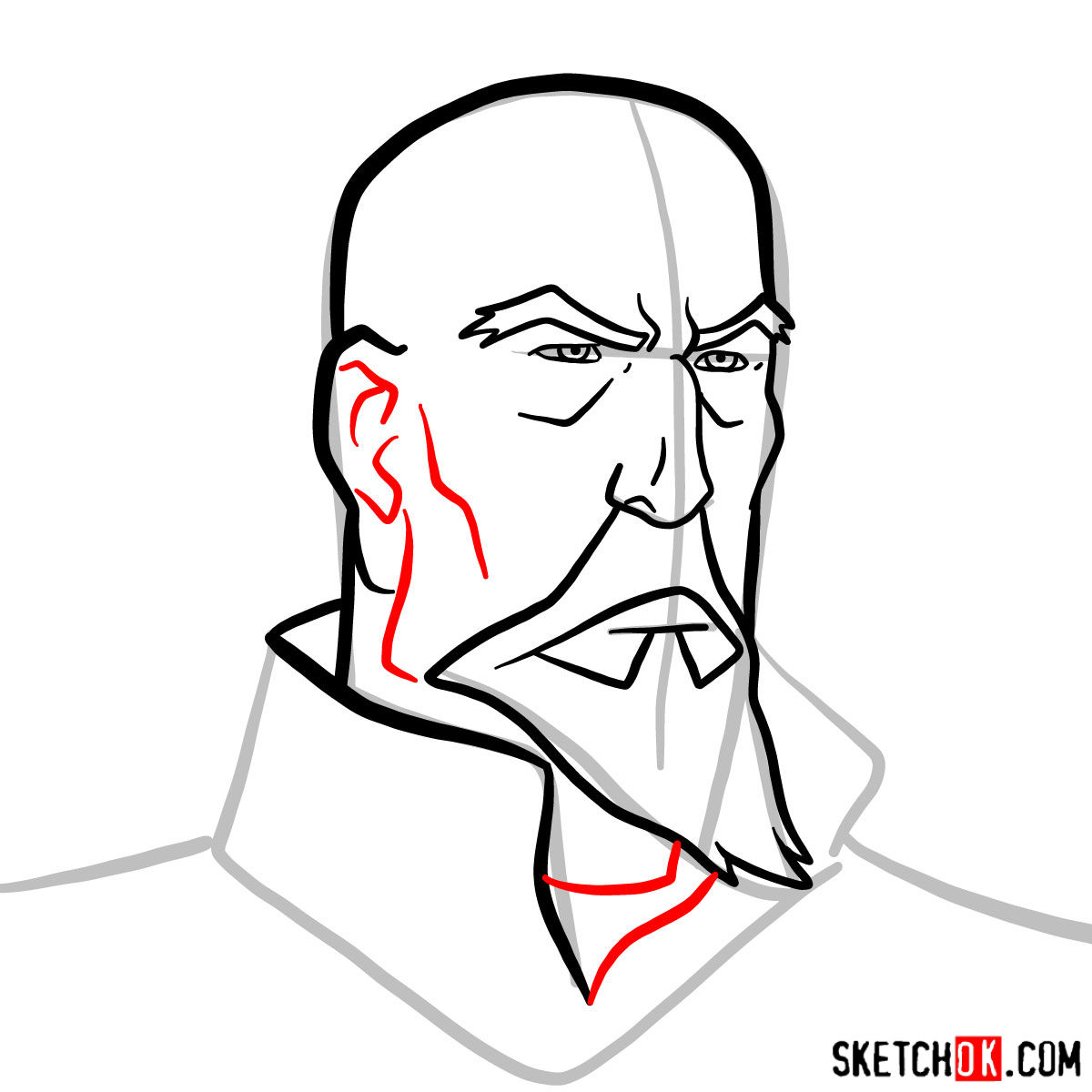How to draw Tenzin's face - step 07