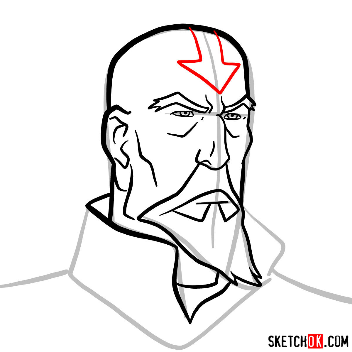 How to draw Tenzin's face - step 08