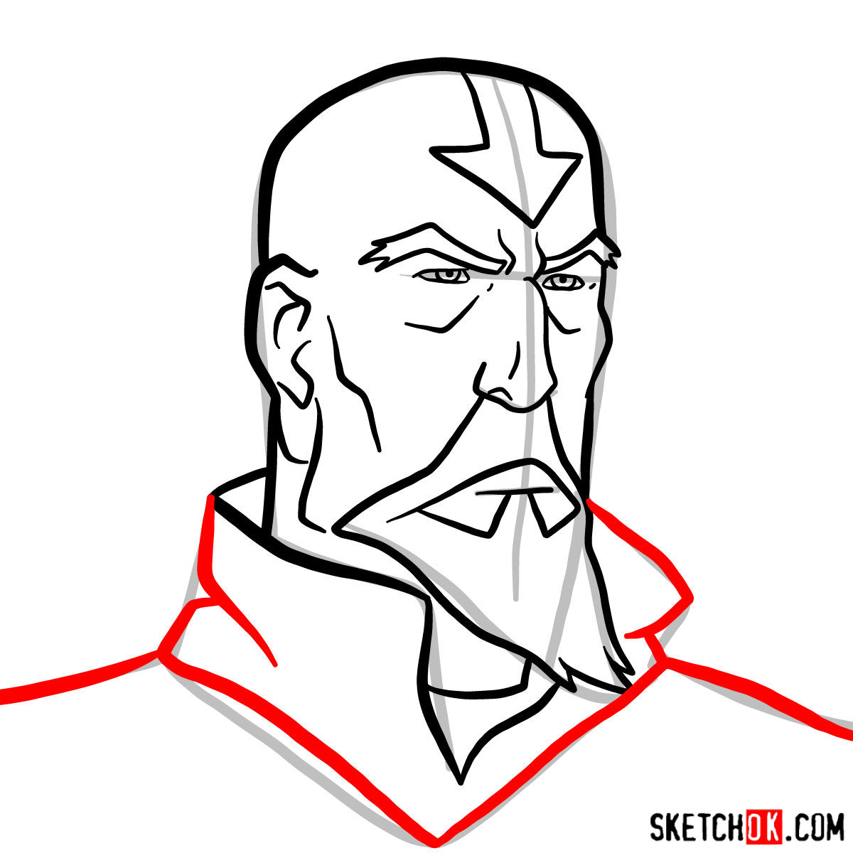 How to draw Tenzin's face - step 09