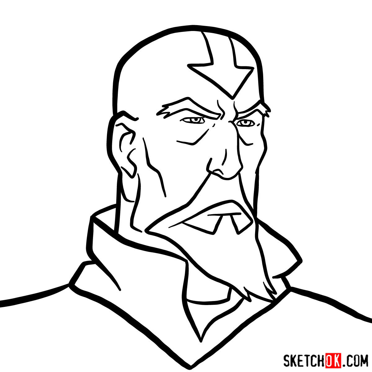 How to draw Tenzin's face - step 10