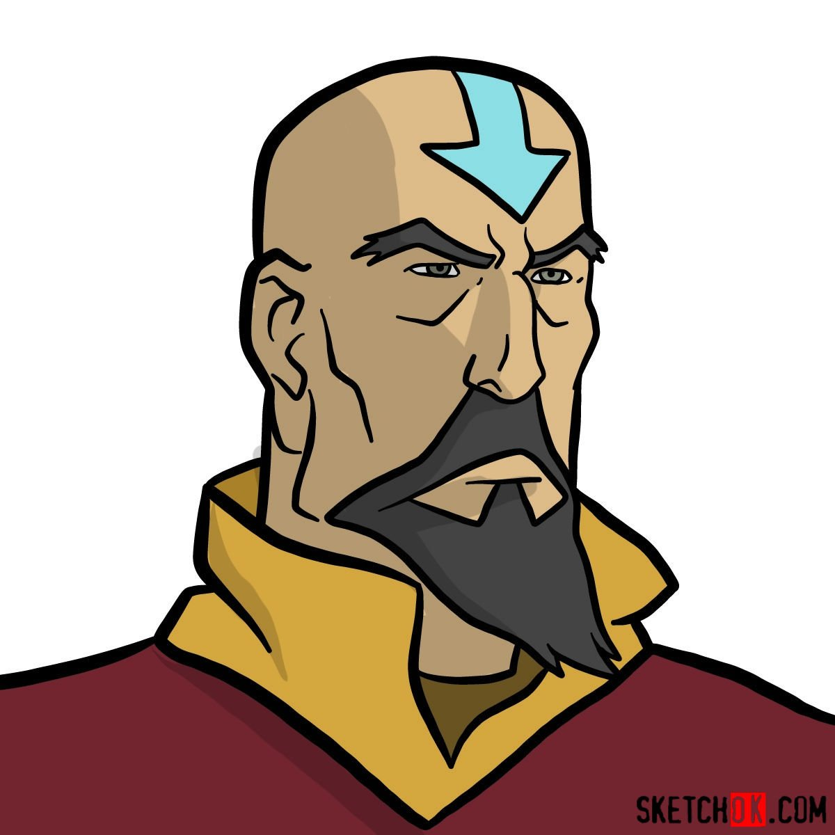How to draw Tenzin's face