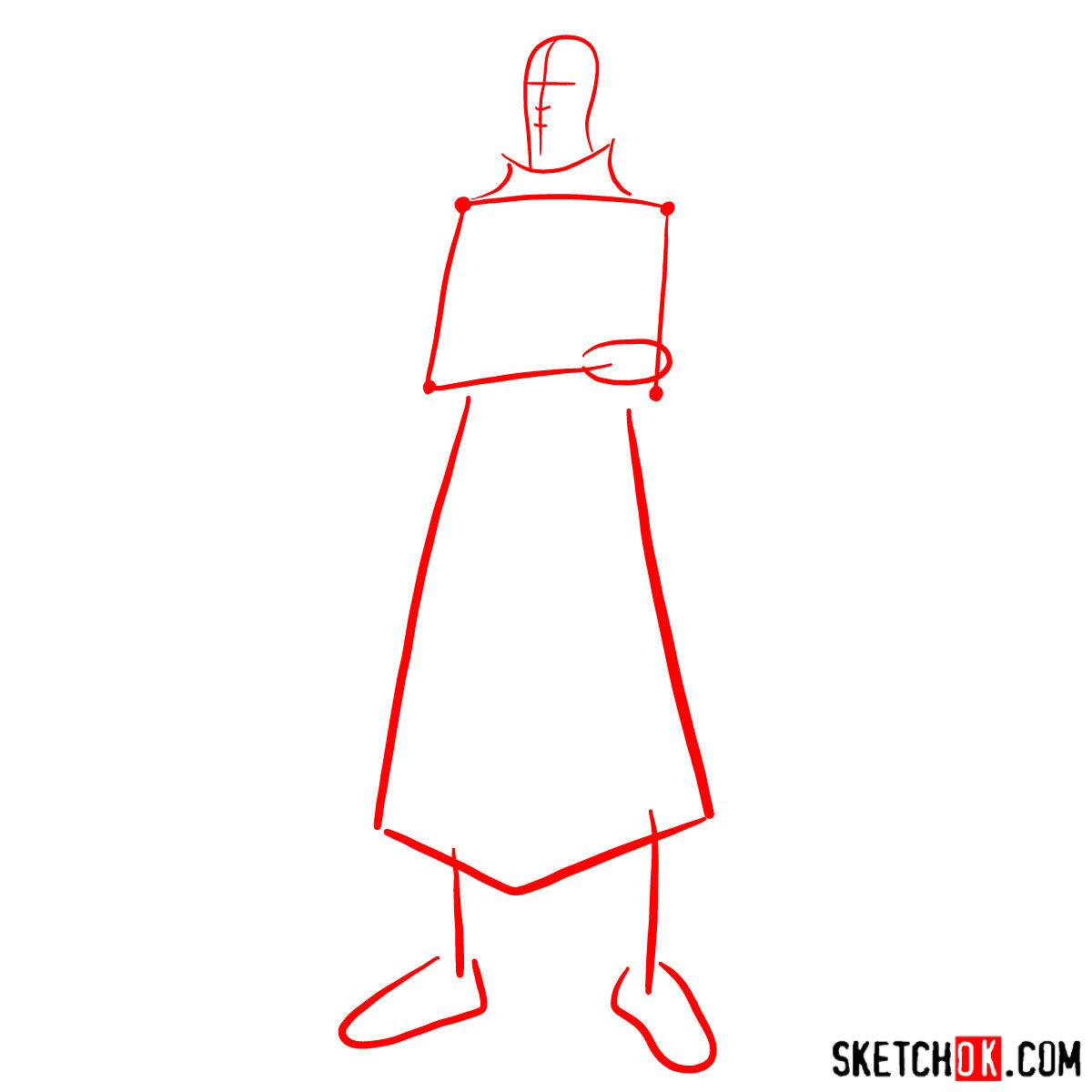 How to draw Tenzin - step 01