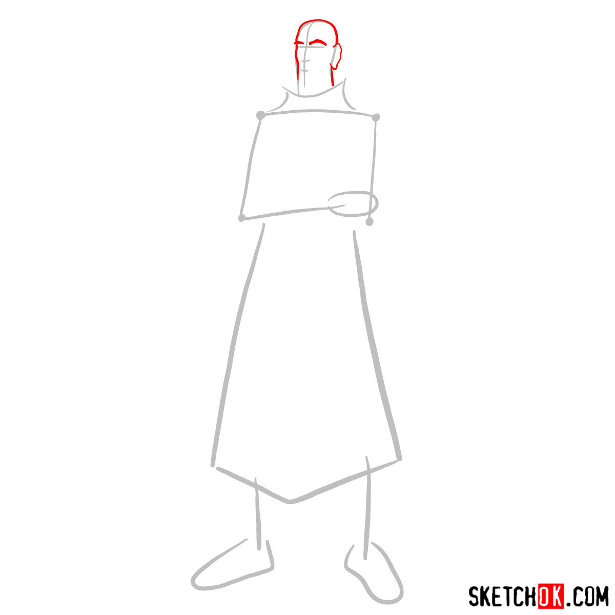 How to draw Tenzin - step 02