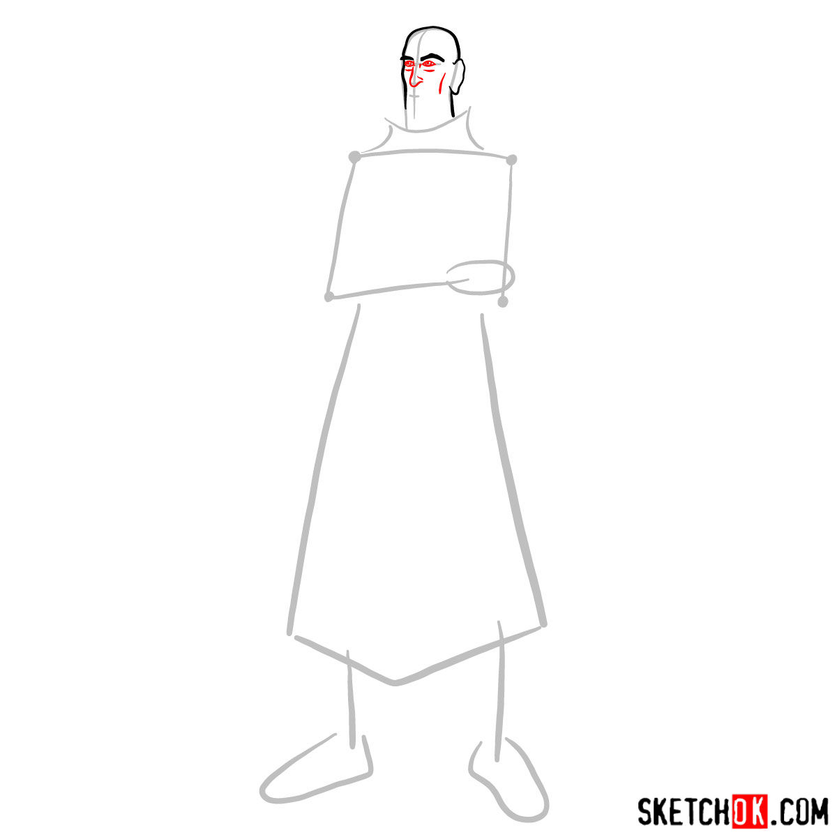 How to draw Tenzin - step 03