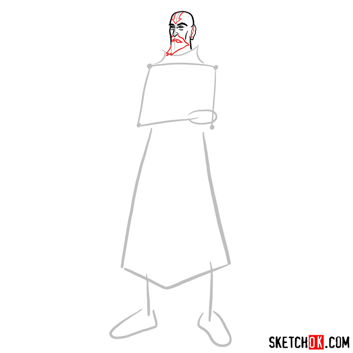 How to draw Tenzin - step 04