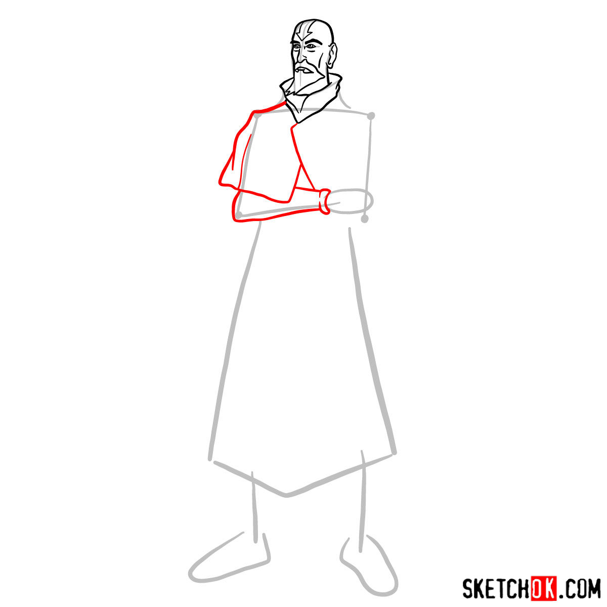 How to draw Tenzin -  step 06