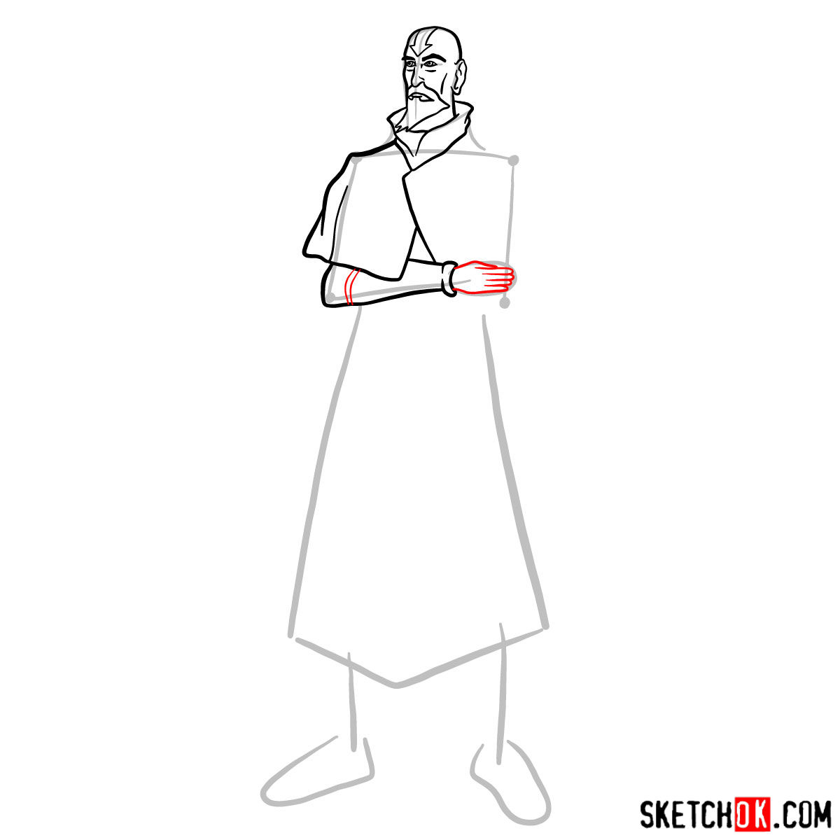 How to draw Tenzin - step 07