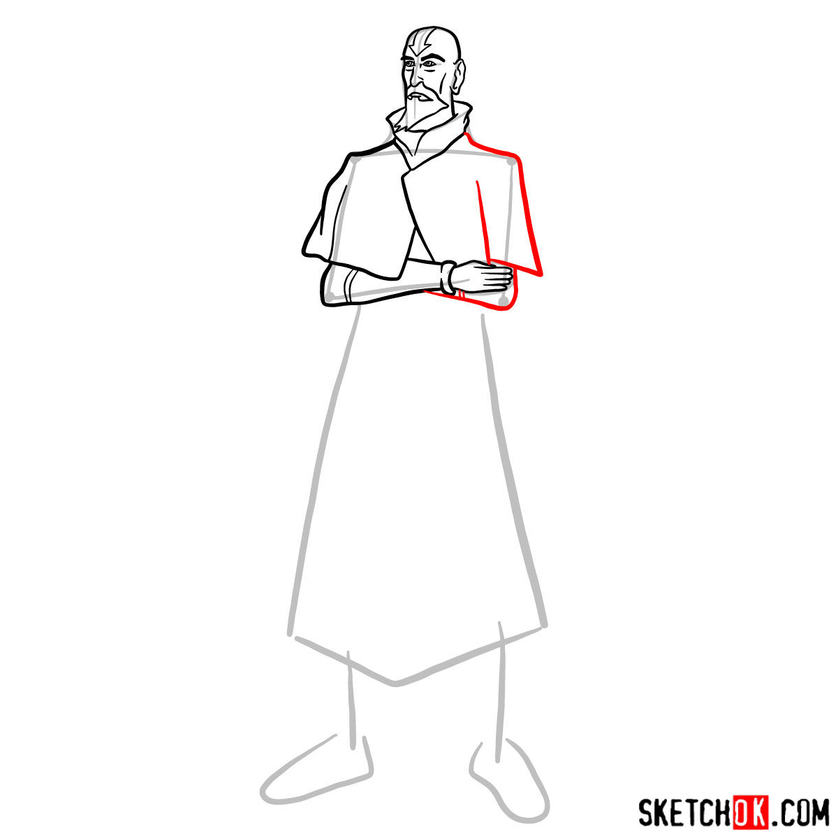 How to draw Tenzin - step 08