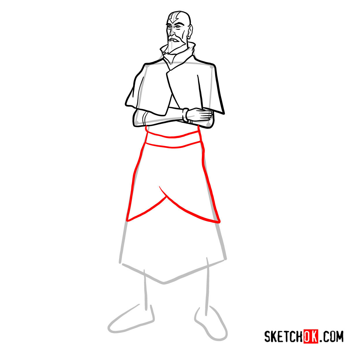 How to draw Tenzin - step 09